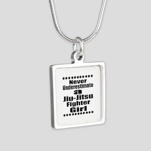 Never Underestimate Jiu-Ji Silver Square Necklace