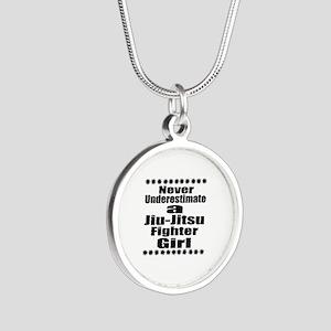 Never Underestimate Jiu-Jits Silver Round Necklace