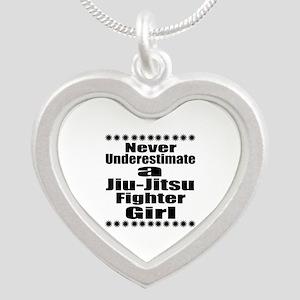 Never Underestimate Jiu-Jits Silver Heart Necklace