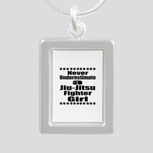 Never Underestimate Jiu- Silver Portrait Necklace