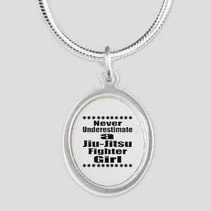 Never Underestimate Jiu-Jitsu Silver Oval Necklace