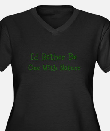 One With Nature Women's Plus Size V-Neck Dark T-Sh