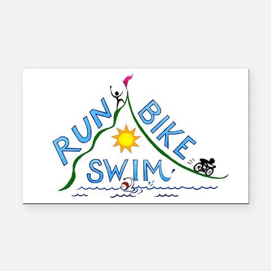 Run, Bike, Swim Rectangle Car Magnet