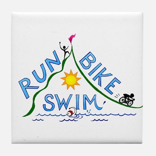Run, Bike, Swim Tile Coaster