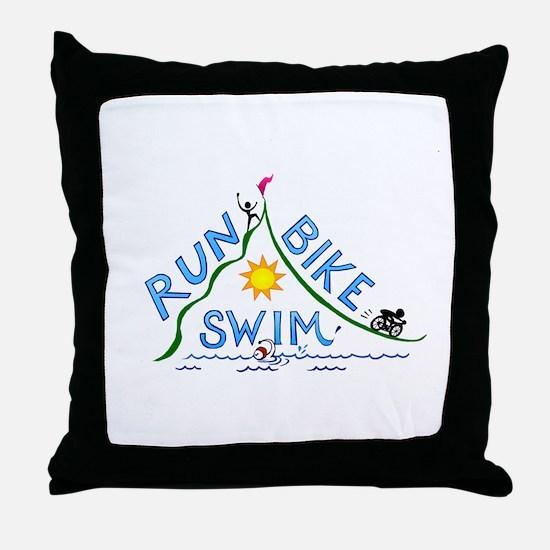 Run, Bike, Swim Throw Pillow
