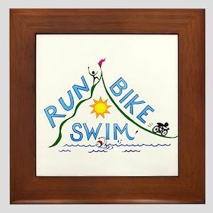 Run, Bike, Swim Framed Tile