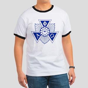 Alpha Phi Omega Crest and Letters Blue Ringer T