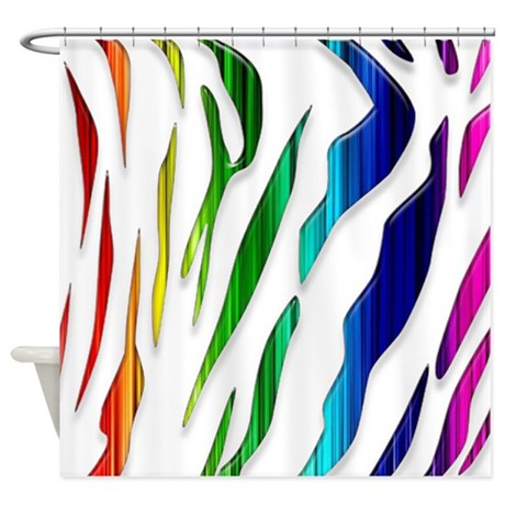 Rainbow Tiger Stripes Shower Curtain