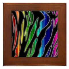 Rainbow Tiger Stripes Framed Tile