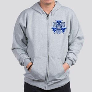 Alpha Phi Omega Crest and Letters Blue Zip Hoodie