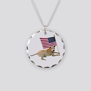 American Flag Pit Bull Necklace Circle Charm