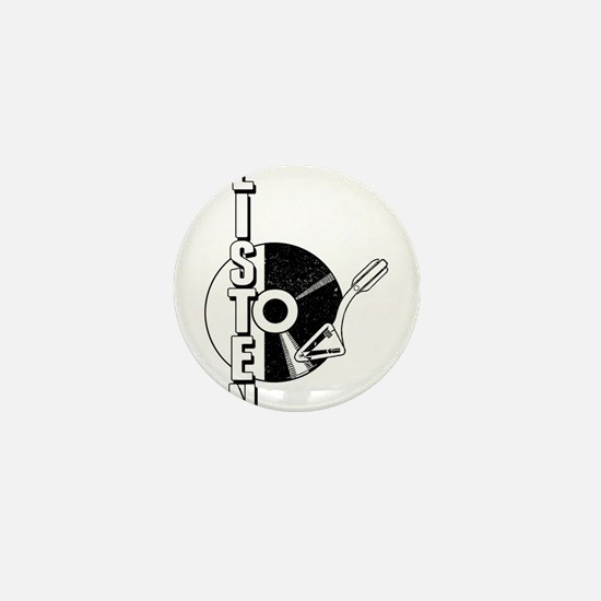 Listen To Vinyl (records) Mini Button