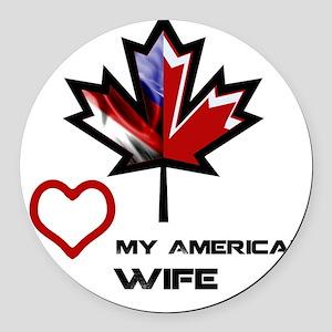 Canada-America Wife Round Car Magnet