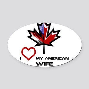 Canada-America Wife Oval Car Magnet