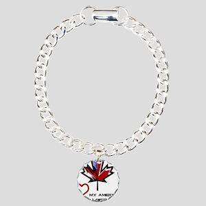Canada-America Wife Charm Bracelet, One Charm