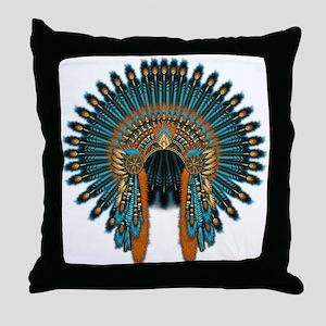 Native War Bonnet 07 Throw Pillow