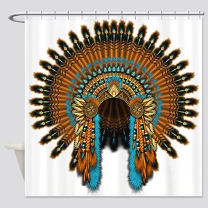 Native War Bonnet 08 Shower Curtain