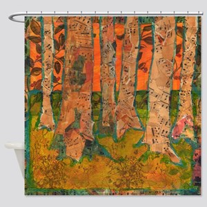 Orange Tangerine Trees Bathroom Shower Curtain