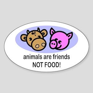 Animals Are Friends Oval Sticker