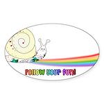 Rainbow Follow Your Fun Cute Snail Sticker (Oval)