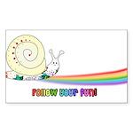 Rainbow Follow Your Fun Cute Snail Sticker (Rectan