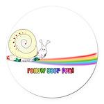 Rainbow Follow Your Fun Cute Snail Round Car Magne