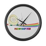 Rainbow Follow Your Fun Cute Snail Large Wall Cloc