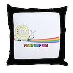 Rainbow Follow Your Fun Cute Snail Throw Pillow