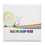Rainbow Follow Your Fun Cute Snail Tile Coaster