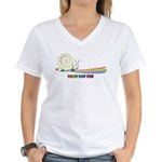 Rainbow Follow Your Fun Cute Snail Women's V-Neck