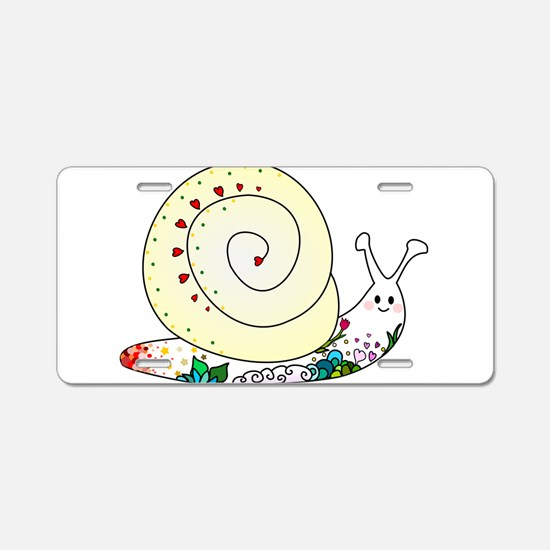 Colorful Cute Snail Aluminum License Plate