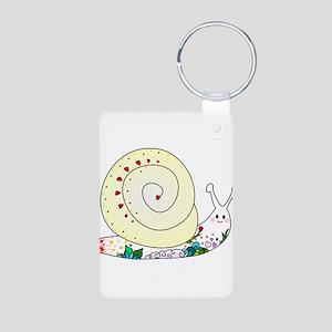 Colorful Cute Snail Aluminum Photo Keychain