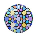 Star Stain Glass Pattern Ornament (Round)