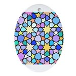 Star Stain Glass Pattern Ornament (Oval)