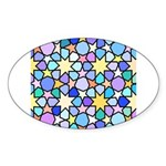 Star Stain Glass Pattern Sticker (Oval 10 pk)