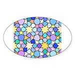Star Stain Glass Pattern Sticker (Oval)