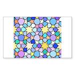 Star Stain Glass Pattern Sticker (Rectangle)