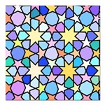 Star Stain Glass Pattern Square Car Magnet 3