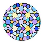 Star Stain Glass Pattern Round Car Magnet