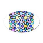 Star Stain Glass Pattern Oval Car Magnet