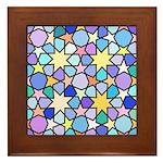 Star Stain Glass Pattern Framed Tile