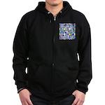 Star Stain Glass Pattern Zip Hoodie (dark)