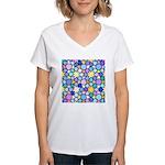 Star Stain Glass Pattern Women's V-Neck T-Shirt
