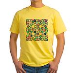 Star Stain Glass Pattern Yellow T-Shirt