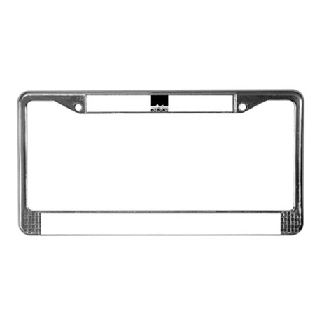 Black and White Ribbon Damask License Plate Frame