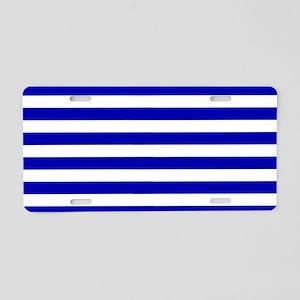 Navy Blue and White Sailor stripes Aluminum Licens