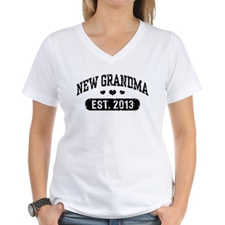 New Grandma Est. 2013 Women's V-Neck T-Shirt