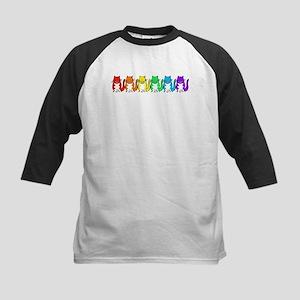 Happy Rainbow Cats Kids Baseball Jersey