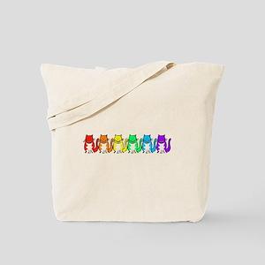 Happy Rainbow Cats Tote Bag