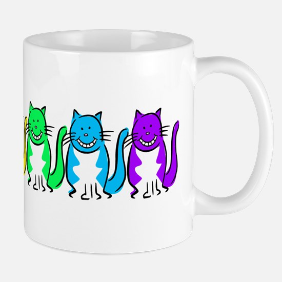 Happy Rainbow Cats Mug